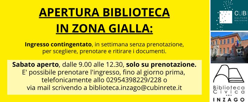 Riapertura biblioteca di Inzago in zona gialla